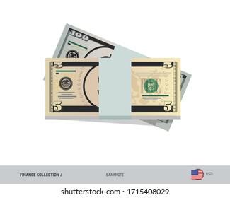 5 US Dollar banknotes. A bundle of money. Flat style vector illustration.