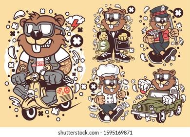 5 Vector Beaver Cartoon Character 3 (2)