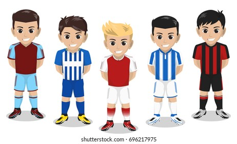 5 Vector Character Football / Soccer Team Home Kit