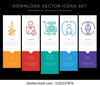 5 vector icons such as 1st birthday, user, more products, turn over, metabolism for infographic, layout, annual report, pixel perfect icon set