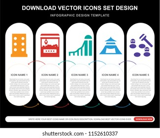 5 vector icons such as Amusement park, Childhood, Slide, Tent, Whack a mole for infographic, layout, annual report, pixel perfect icon