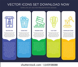 5 vector icons such as Bottle, Popcorn, Water Slide, Hot Air Balloon, Whack a mole for infographic, layout, annual report, pixel perfect icon