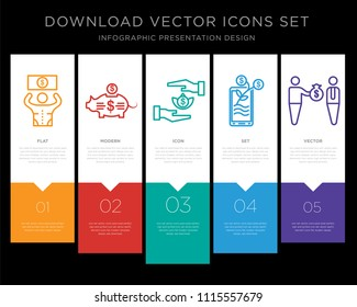 5 vector icons such as Bribe, Piggy bank, Bribe, Growth, Bribe for infographic, layout, annual report, pixel perfect icon