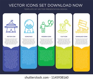 5 vector icons such as Circus, Candy machine, Balloon, Whack a mole, Water Slide for infographic, layout, annual report, pixel perfect icon