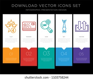 5 vector icons such as cod, punch card, advanced search, catfish, input output for infographic, layout, annual report, pixel perfect icon set
