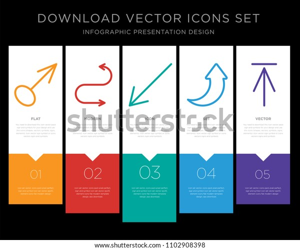 5 Vector Icons Such Drag Curved Stock Vector (Royalty Free) 1102908398