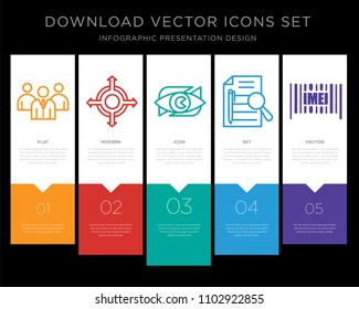 5 vector icons such as employer branding, agnostic, neighborhood watch, executive summary, imei for infographic, layout, annual report, pixel perfect icon set