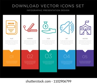 5 vector icons such as english subject, bear trap, subsidy, noise uction, military base for infographic, layout, annual report, pixel perfect icon set