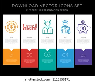 5 vector icons such as Exchange, Corruption, Corruption, Police, Piggy bank for infographic, layout, annual report, pixel perfect icon