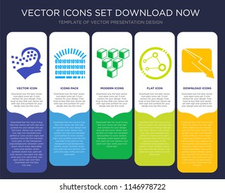 5 vector icons such as Human graphics, Binary code loading, Cube graphic of squares, Data analytics interface, descending for infographic, layout, annual report, pixel perfect icon