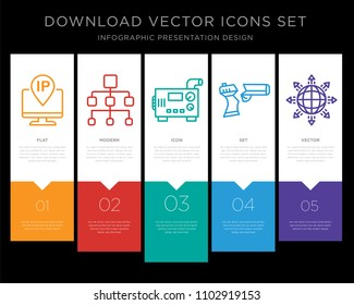 5 vector icons such as ip address, org chart, diesel generator, broken gun, global expansion for infographic, layout, annual report, pixel perfect icon set
