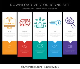 5 vector icons such as iptv, neighborhood watch, customer centricity, quick facts, no hidden fees for infographic, layout, annual report, pixel perfect icon set