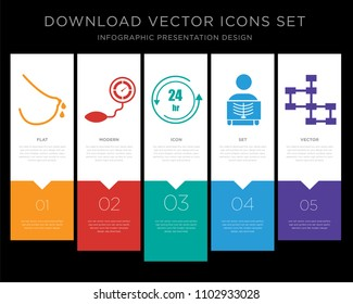 5 vector icons such as lactation, pressure sensor, 24 hr, radiologist, database schema for infographic, layout, annual report, pixel perfect icon set