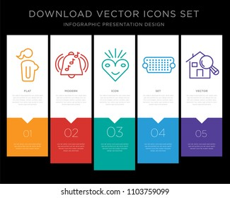 5 vector icons such as naked lady, ringtone, bliss, vga, home inspector for infographic, layout, annual report, pixel perfect icon set