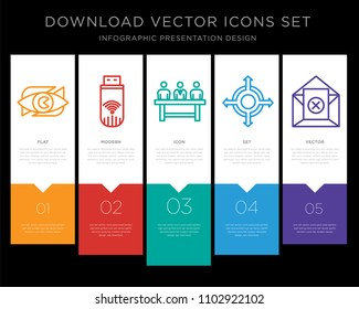5 vector icons such as neighborhood watch, dongle, commitee, agnostic, unsubscribe for infographic, layout, annual report, pixel perfect icon set
