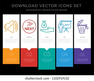 5 vector icons such as noise uction, what's next, subsidy, expo, solid waste for infographic, layout, annual report, pixel perfect icon set