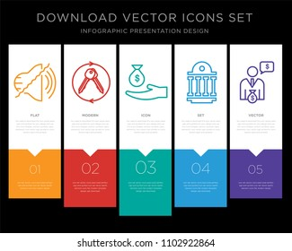 5 vector icons such as noise uction, turnkey, subsidy, public sector, cfo for infographic, layout, annual report, pixel perfect icon set