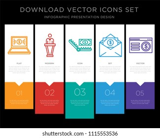 5 vector icons such as On, Politician, Bribe, Bribe, On for infographic, layout, annual report, pixel perfect icon
