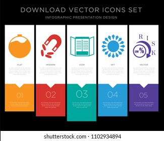 5 vector icons such as overdue, retention, chiller, chiller, lower risk for infographic, layout, annual report, pixel perfect icon set
