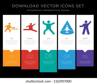 5 vector icons such as Person play ping pong, Jumping dancer, Person dance music, Abducted Man, Person exercise heating for infographic, layout, annual report, pixel perfect icon set