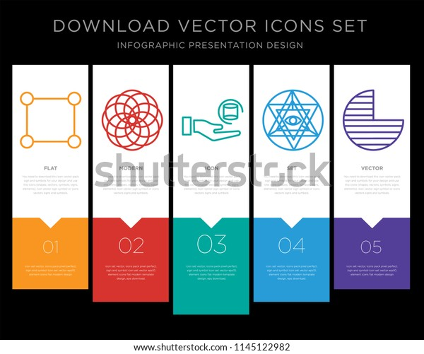 5 Vector Icons Such Rectangle Circles Stock Vector (Royalty