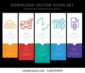 5 vector icons such as resale, diesel generator, ongoing, saudi riyal, mandate for infographic, layout, annual report, pixel perfect icon set