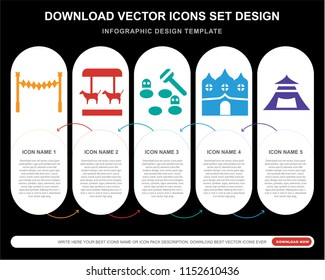 5 vector icons such as Ride, Merry go round, Whack a mole, Haunted house, Tent for infographic, layout, annual report, pixel perfect icon