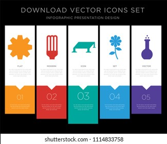 5 vector icons such as Settings, Light bulb, Solar panel, Flower, Flask for infographic, layout, annual report, pixel perfect icon