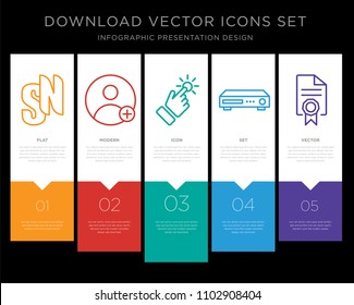 5 vector icons such as sn, friend request, touchpoint, dvr, mandate for infographic, layout, annual report, pixel perfect icon set