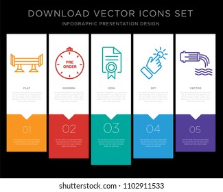 5 vector icons such as spoiler, preorder, mandate, touchpoint, wastewater for infographic, layout, annual report, pixel perfect icon set