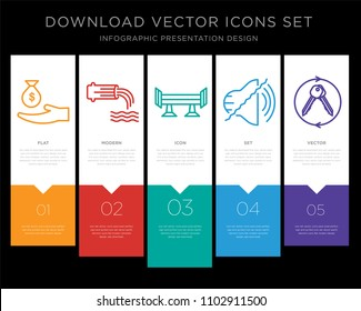 5 vector icons such as subsidy, wastewater, spoiler, noise uction, turnkey for infographic, layout, annual report, pixel perfect icon set