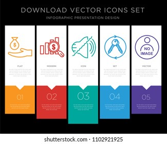5 vector icons such as subsidy, value proposition, noise uction, turnkey, photo not available for infographic, layout, annual report, pixel perfect icon set