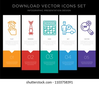 5 vector icons such as take a tour, catfish, bingo card, valet, advanced search for infographic, layout, annual report, pixel perfect icon set