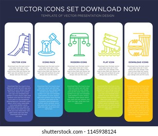 5 vector icons such as Toboggan, Whack a mole, Swing, Water Slide, Fast food for infographic, layout, annual report, pixel perfect icon