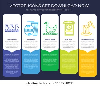 5 vector icons such as Trolley, Fast food, Pedal boat, Skee ball, Whack a mole for infographic, layout, annual report, pixel perfect icon
