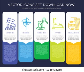 5 vector icons such as Water Slide, Pinwheel, Whack a mole, Bump Car, Fast food for infographic, layout, annual report, pixel perfect icon