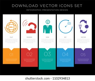 5 vector icons such as website, telco, understand, next level, omnichannel for infographic, layout, annual report, pixel perfect icon set