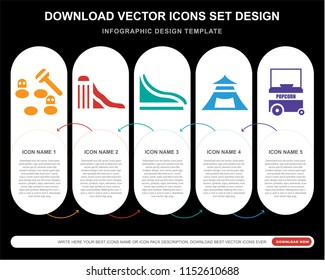 5 vector icons such as Whack a mole, Slide, Tent, Popcorn for infographic, layout, annual report, pixel perfect icon