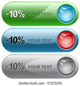 -5%. Vector internet buttons.