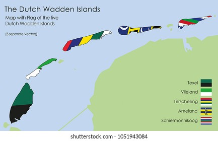 - 5 Vectorworks including the map and the flag of the Dutch Wadden Islands: Texel, Vlieland, Terschelling, Ameland and Schiermonnikoog)