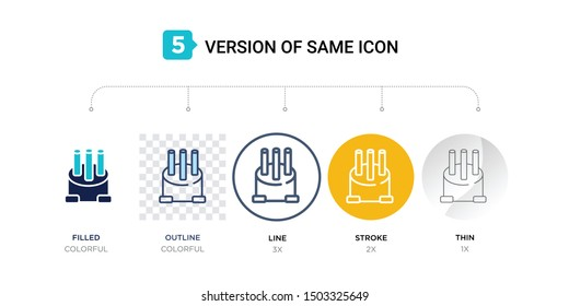 5 version of car distributor cap icon such as two color, blue filled, outline, line in round, stroke on orange, thin on gray illustrations can be use for web and mobile