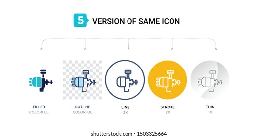 5 version of car distributor icon such as two color, blue filled, outline, line in round, stroke on orange, thin on gray illustrations can be use for web and mobile