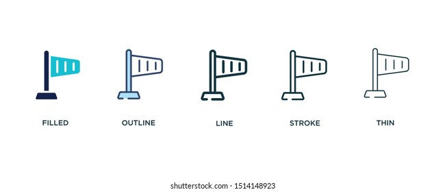 5 version of right wing icon such as two color filled, colorful outline, simple line, stroke and thin vector illustrations can be use for web and mobile