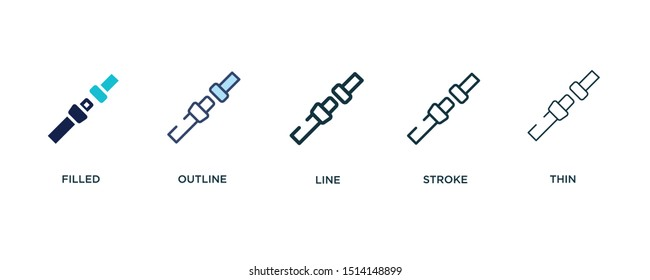 5 version of security belt icon such as two color filled, colorful outline, simple line, stroke and thin vector illustrations can be use for web and mobile