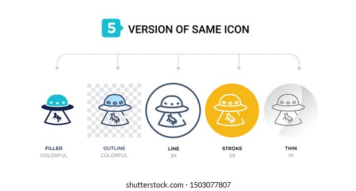 5 version of ufo and cow icon such as two color, blue filled, outline in transparent, line in round, stroke on orange, thin on gray illustrations can be use for web & mobile