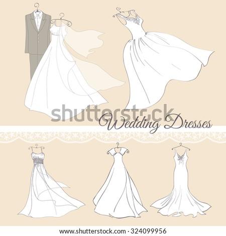 d36b65a028c 5 wedding dresses vector set. Fashion bride Dress made in modern style.  Bridal shower