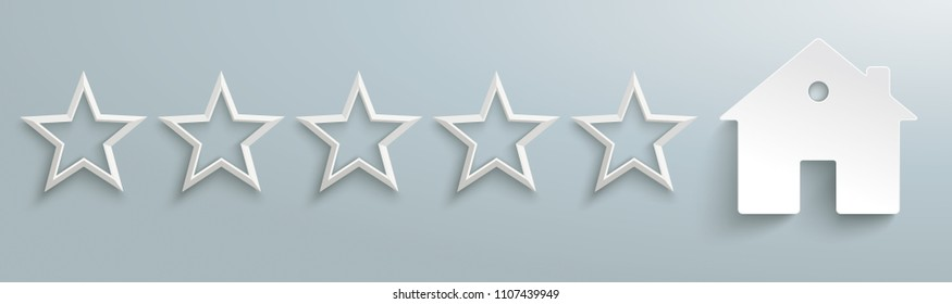 5 white stars with a house on the gray background. Eps 10 vector file.