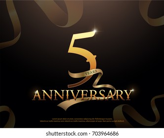 5 year anniversary celebration logotype template. 5th logo with ribbons on black