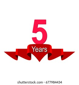 5 year anniversary logo with red ribbon. Flat style vector illustration