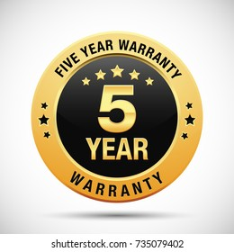 5 year warranty golden badge isolated on white background. warranty label